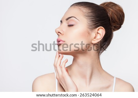 Beauty Model Girl Portrait . Beautiful Woman Face. - stock photo
