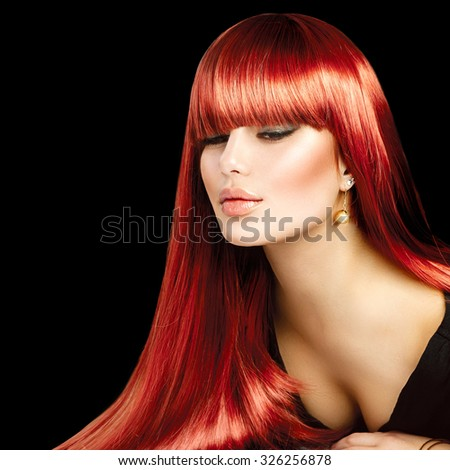 Beauty Model girl with Healthy Hair. Beautiful sexy woman with long smooth shiny straight hair. Hairstyle. fringe hairstyle, Hair cosmetics, haircare. Hair colouring - stock photo