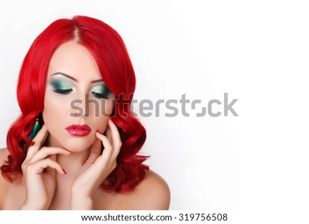 Beauty model girl with luxurious hair, make up and accessories. Holiday makeup. Bright smoky eyes and red lipstick - stock photo