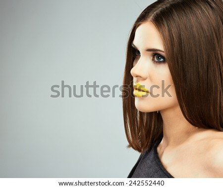 Beauty model with long hair. Fashion style portrait.