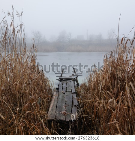 beauty morning's fog over the mystic bridge - stock photo