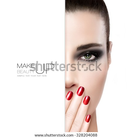 Beauty, nail art and makeup concept. Gorgeous fashion model woman with perfect skin wearing smoky eye makeup holding her hand with manicured red nails to her mouth, white card template over half face - stock photo