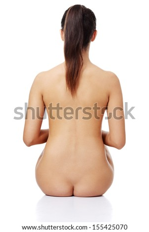 Beauty nude women back, isolated on white - stock photo