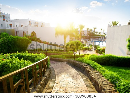 Beauty of egyptian hotel in the morning - stock photo