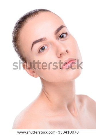 Beauty of health young woman. Isolated on white background - stock photo