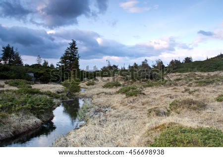 Beauty of Northern nature. Mountain river in spring landscape - stock photo