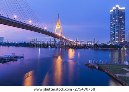 Beauty of of sunset at Suspension bridge (Bhumibol bridge), Bangkok Thailand