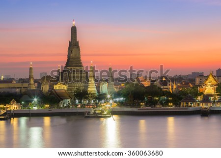 Beauty of Sunset at Arun temple the most tourist destination of Bangkok Thailand - stock photo