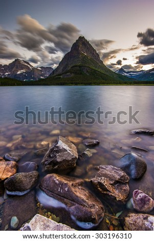 Beauty of sunset on Swifcurrent Lake, Glacier National Park