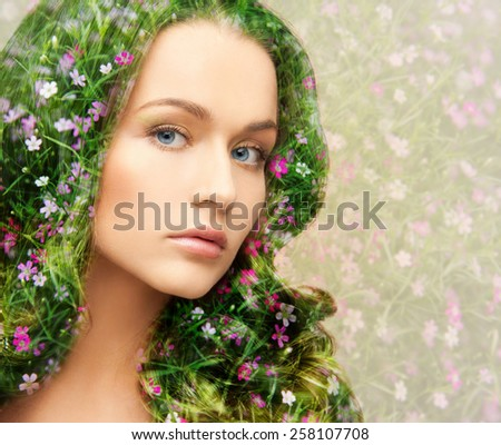 beauty, people and health concept - young beautiful woman with floral pattern and double exposure effect background - stock photo