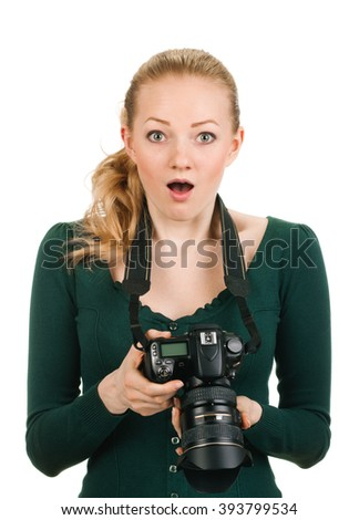 beauty photographer reviewing bad shot - stock photo