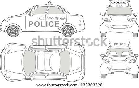 Beauty police car (outlined top, side, back, front view), isolated on white background - stock photo