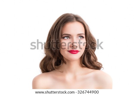 Beauty Portrait. Beautiful face of young woman with clean fresh skin close up isolated on white.  - stock photo