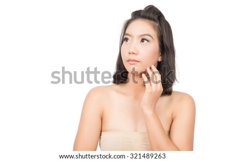 Beauty Portrait. Beautiful spa asian woman. Beautiful asian woman face and Perfect skin. keep pore details.