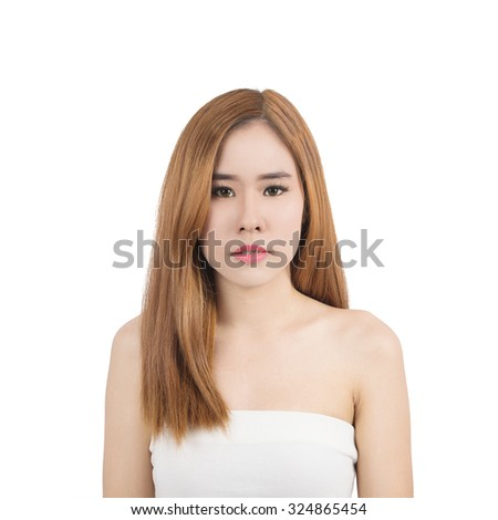 Beauty Portrait. Beautiful spa asian woman. Beautiful asian woman face and Perfect skin. keep pore details.  - stock photo