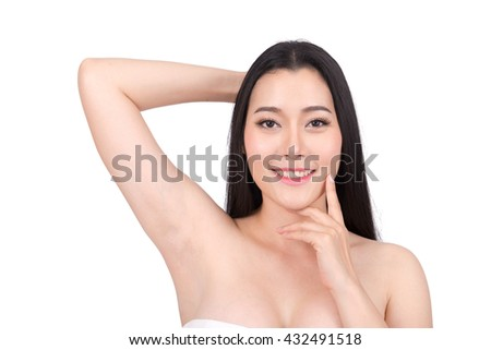 Beauty Portrait. Beautiful spa asian woman. Beautiful asian woman face and Perfect skin. keep pore details. Show armpit