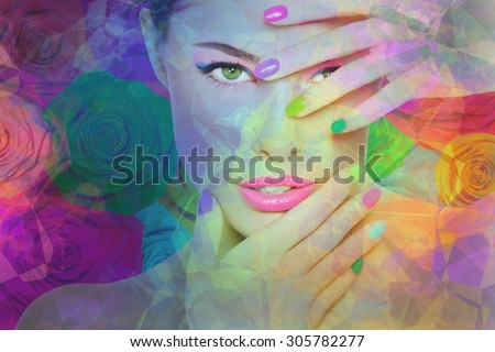beauty portrait, colorful composite photography