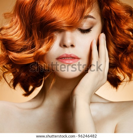 Beauty Portrait. Curly Hair - stock photo