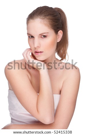 Beauty portrait from a young woman.  Full isolated studio picture.