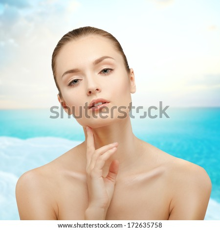 Beauty Portrait. Girl on background of the sea. Perfect and healthy skin. The Dead Sea. - stock photo