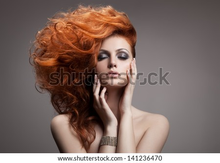 Beauty Portrait. Hairstyle - stock photo