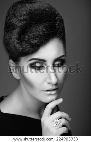 Beauty Portrait. Hairstyle. Black and white picture.