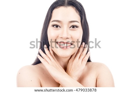 Beauty Portrait model. Beautiful spa asian woman. Beautiful asian woman face and Perfect skin. keep pore details.