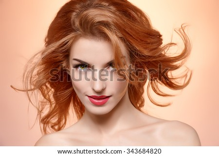 Beauty portrait nude woman, long eyelashes, perfect skin, natural makeup, fashion. Sensual attractive pretty redhead sexy model girl on pink, shiny straight hair. People face closeup, spa, copyspace - stock photo