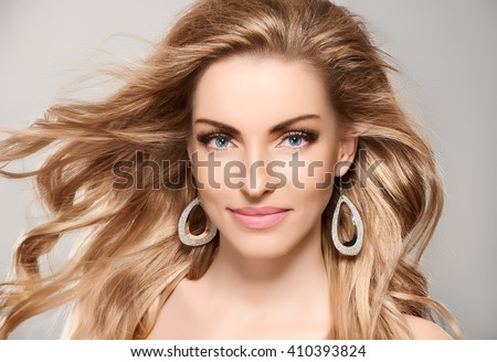 Beauty portrait nude woman smiling, blue eyes, eyelashes, perfect skin, natural makeup, fashion. Sensual attractive pretty blonde sexy model girl, shiny wavy hair. People face closeup, spa, copy space - stock photo