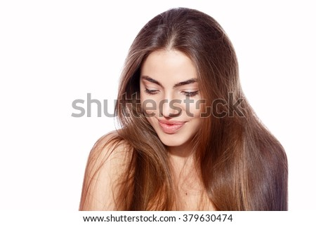 Beauty portrait of a beautiful girl Nude makeup. beauty and skin health. emotional portrait - stock photo