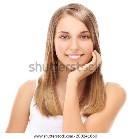 Beauty portrait of a beautiful smiling blond girl.  - stock photo
