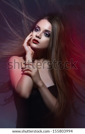 beauty portrait of a girl with long hair.