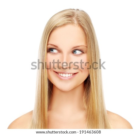 Beauty portrait of a young blonde woman with beautiful smile.White background - stock photo