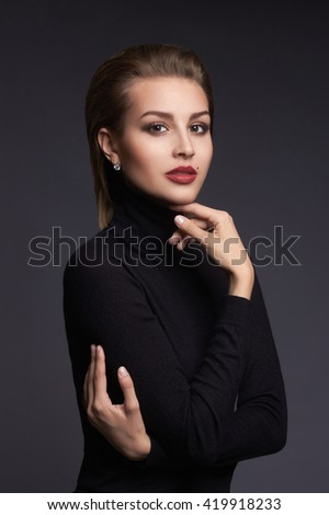 beauty portrait of a young woman. beautiful girl with short hair