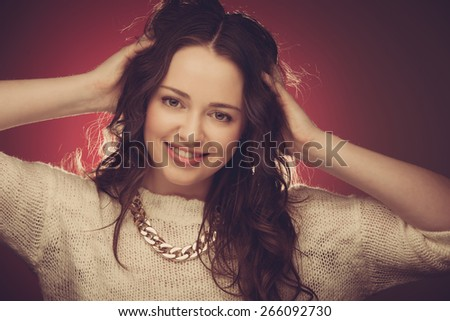 Beauty portrait of an attractive caucasian woman - stock photo