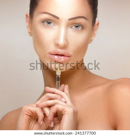 Beauty portrait of attractive delicate sensual lady. Girl looking at camera.  - stock photo