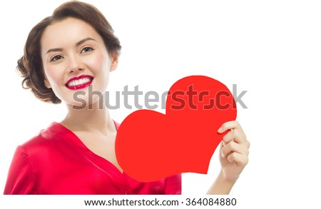 beauty portrait of attractive young caucasian smiling woman isolated on white studio shot makeup red heart valentine's love - stock photo