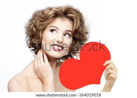 beauty portrait of attractive young caucasian smiling  woman isolated on white studio shot red heart valentine's love - stock photo