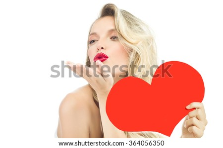 beauty portrait of attractive young caucasian  woman blond isolated on white studio shot red  lips  face long hair head and shoulders kiss red heart valentine's love - stock photo
