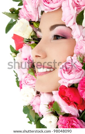 beauty portrait of beautiful young female face with flower roses frame - stock photo