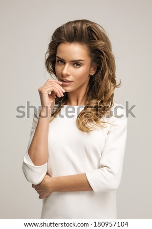 Beauty portrait of blond woman - stock photo