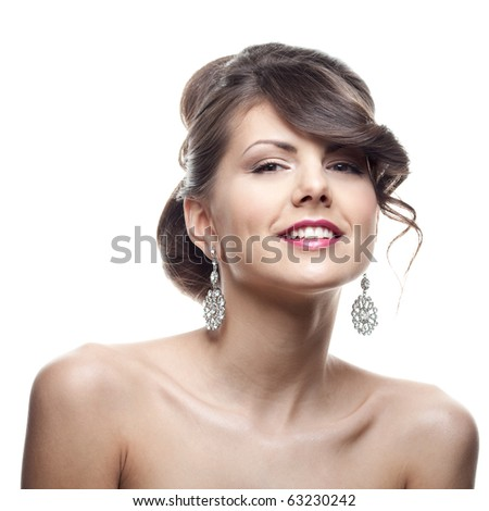 Beauty portrait of?Caucasian?woman?laughing?om?white background - stock photo