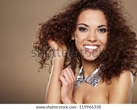 Beauty portrait of handsome ethnic african girl - stock photo
