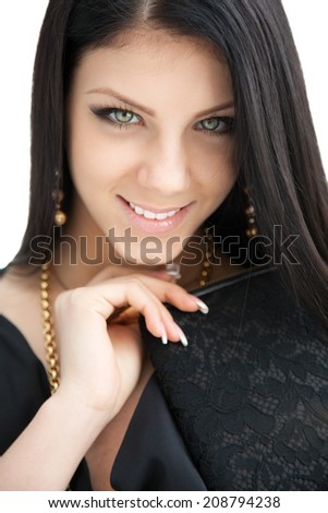 Beauty portrait of long haired smiling young brunette woman  - stock photo