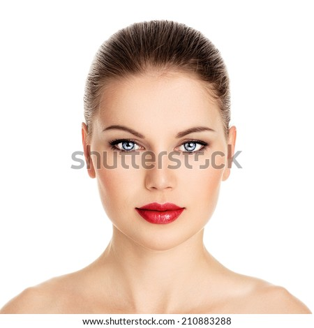 Beauty portrait of pretty woman with perfect healthy skin isolated over white background. Young charming Caucasian model with retro red lips make-up.  - stock photo