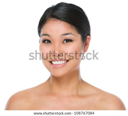 Beauty portrait of smiling asian brunette woman isolated on white - stock photo