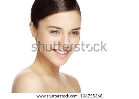 beauty portrait of smiling female with natural makeup. Carefully retouched to retain skin texture - stock photo