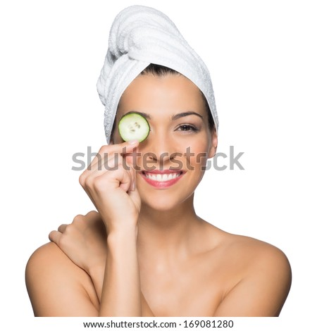 Beauty Portrait Of Smiling Woman With Towel On Head And Slice Of Cucumber In Hand Isolated On White Background - stock photo