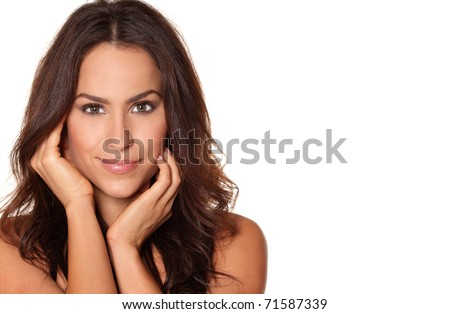 Beauty portrait of tan brunette on white background with room for text