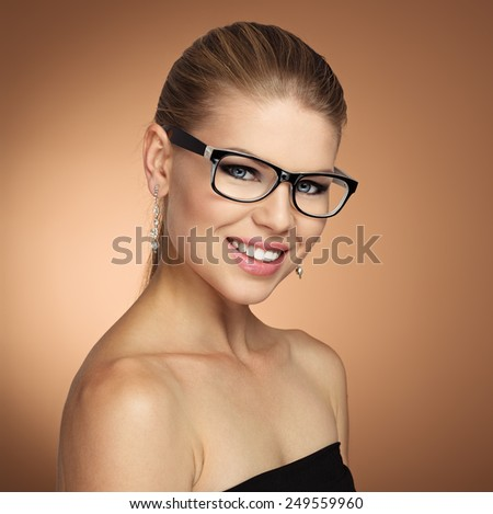 Beauty portrait of vogue female wearing stylish spectacles. Optician woman, eyewear and vision.   - stock photo